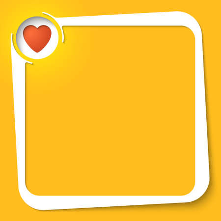 office romance: Vector white box for your text and heart icon