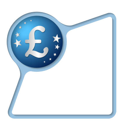 pound sterling: Marco abstracto con sombra interior y la libra esterlina símbolo