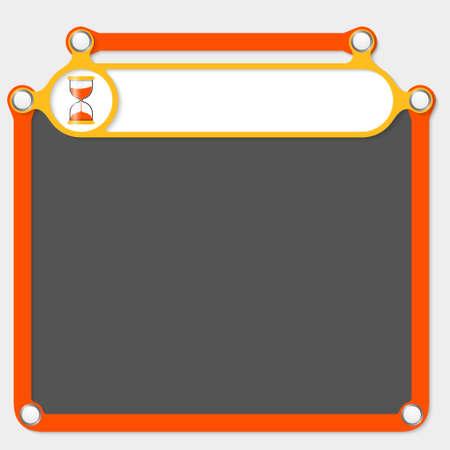sand glass: Yellow frame for headline and sand glass Illustration