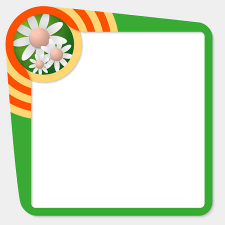 text box: Green box for your text and flowers Illustration