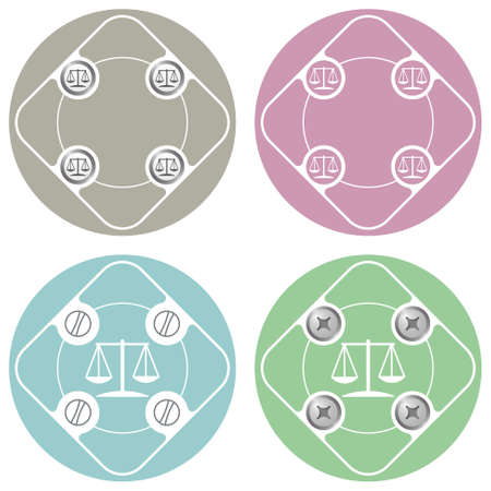 jury box: Set of four colored flat simple frames and lawyer symbol