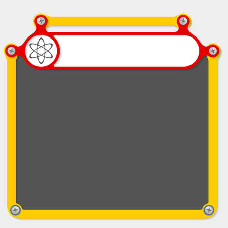 headline: Red frame for headline and science symbol