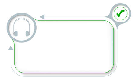 Frame for your text with headphones and check box Vector