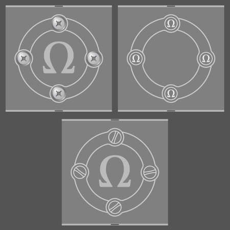 alphabet greek symbols: Set of three flat frames and omega symbol