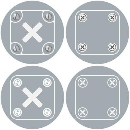 multiplication: Set of four flat simple frames and multiplication symbol Illustration