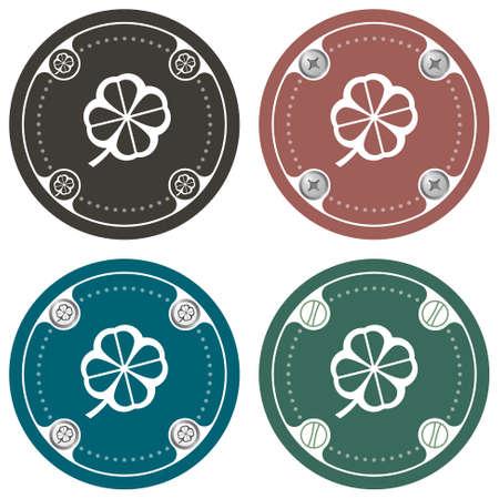 cloverleaf: Set of four colored flat simple frames and cloverleaf