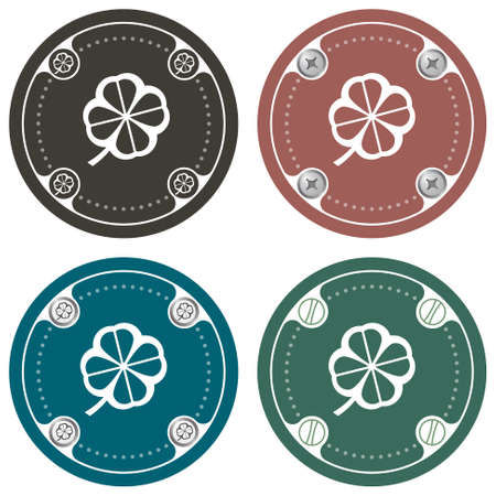 Set of four colored flat simple frames and cloverleaf