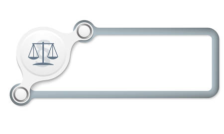 jury box: Vector gray box for your text and lawyer symbol Illustration