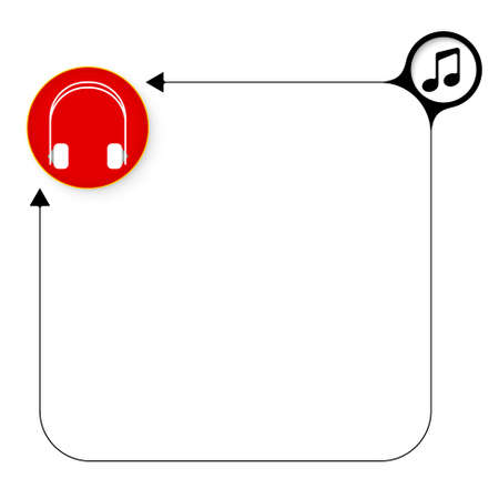 Abstract frame for your text and headphones Vector