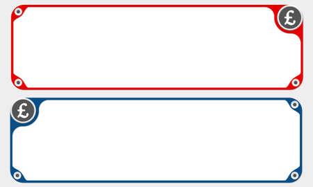 pound sterling: Dos marcos de vector para el texto y la libra esterlina símbolo