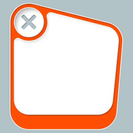 multiplicacion: Cuadro rojo para el texto con marco blanco y símbolo de multiplicación