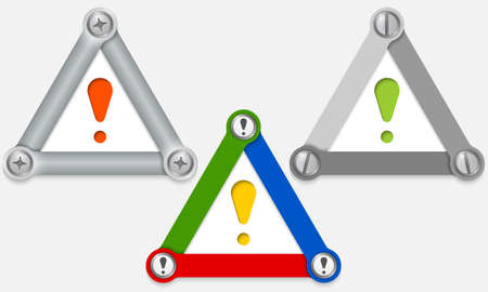exclamation mark: Set of three colored triangles and exclamation mark