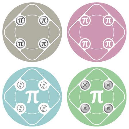 pi: Set of four colored flat simple frames and pi symbol