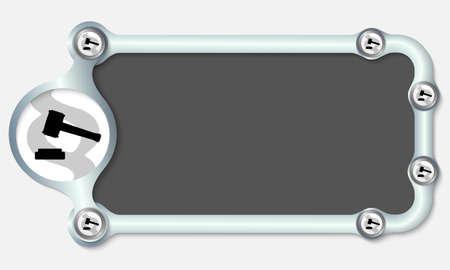 jury box: Metallic frame for your text and the symbol of justice