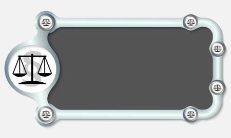 Metallic frame for your text and the symbol of justice