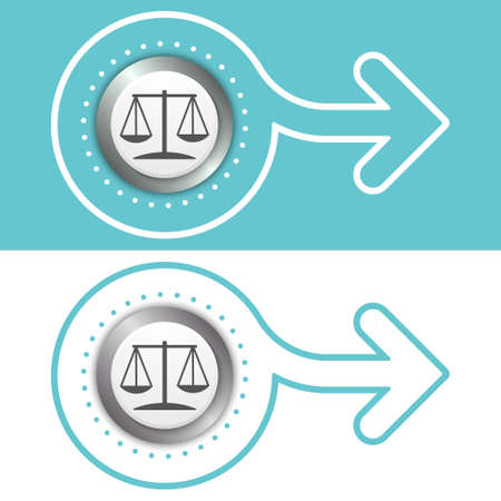 jury box: Simple flat abstract arrow and the symbol of lawyer Illustration