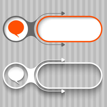 speech buble: Two abstract frames with arrows and speech bubble