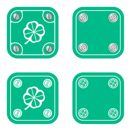 cloverleaf: Set of four flat simple frames and cloverleaf