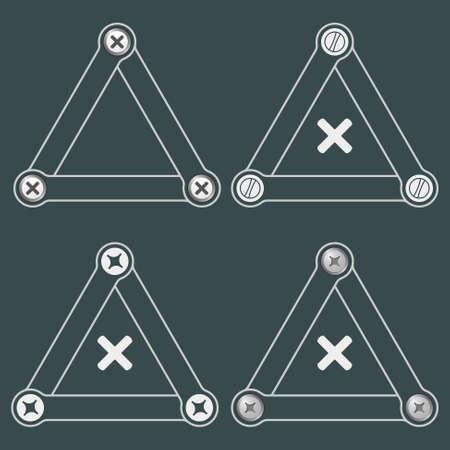 multiplicacion: Conjunto de cuatro tri�ngulos simples planas con tornillos y el s�mbolo de la multiplicaci�n