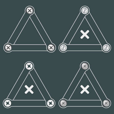 multiplication: Set of four flat simple triangles with screws and the symbol of multiplication