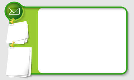 remark: Abstract frame for your text with envelope and  papers for remark