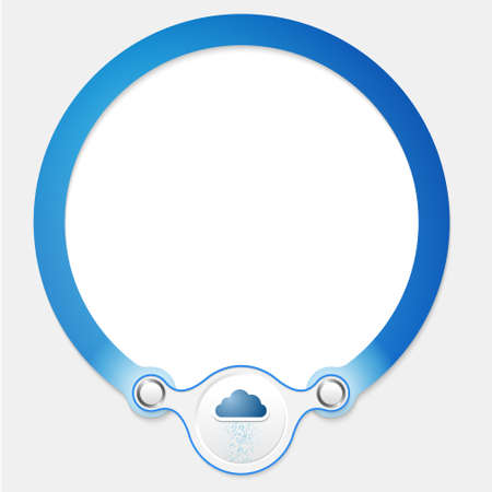office product: Blue circular frame for your text and cloud