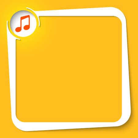 Vector white box for your text and music icon Vettoriali