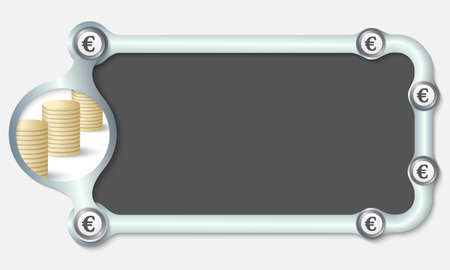 euro screw: Metallic frame for your text and the symbol of euro