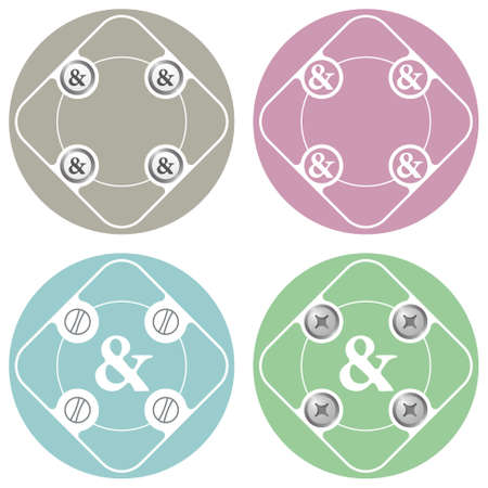 ampersand: Set of four colored flat simple frames and ampersand Illustration