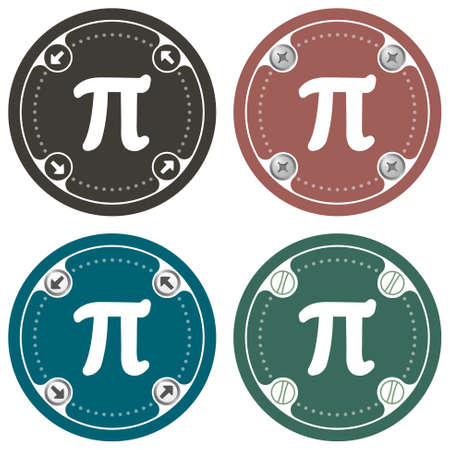 pi: Set of four colored flat simple frames and the symbol of pi Illustration