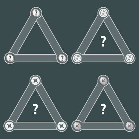 shopping questions: Set of four flat simple triangles with screws and question mark Illustration