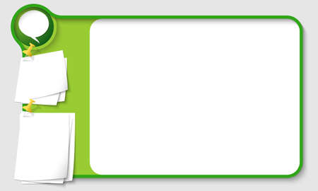 remark: Abstract frame for your text with speech bubble and  papers for remark Illustration