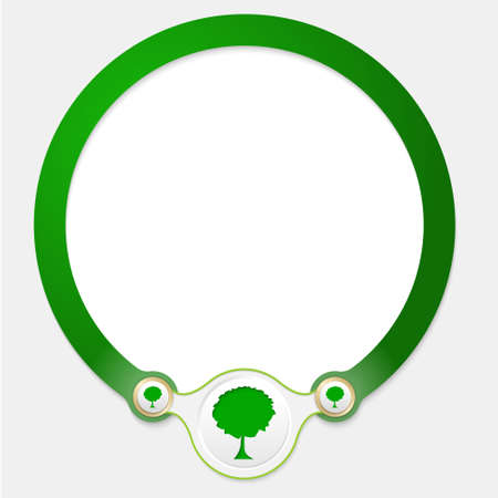 broad leaf: Green circular frame for your text and tree icon Illustration