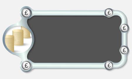 libra esterlina: Marco metálico para el texto y el símbolo de la libra esterlina Vectores