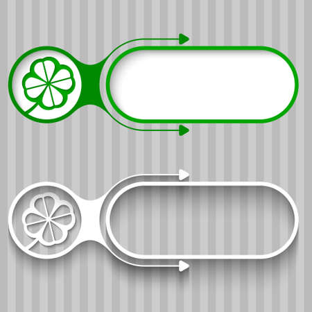 cloverleaf: Two abstract frames with arrows and cloverleaf