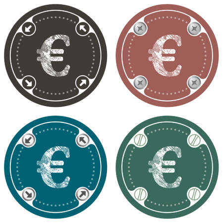 euro screw: Set of four colored flat simple frames and the symbol of euro