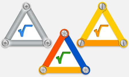 three colored: Set of three colored triangles and radix Illustration
