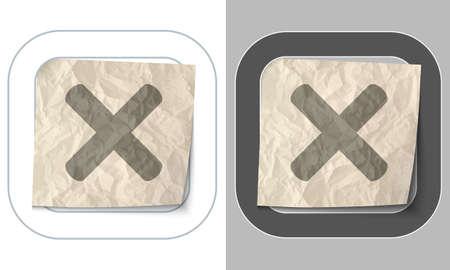 multiplicaci�n: conjunto de dos iconos y papel arrugado con la multiplicaci�n Vectores
