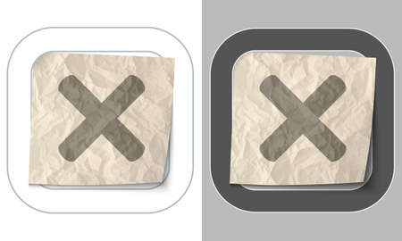 multiplication: set of two icons and crumpled paper with multiplication Illustration