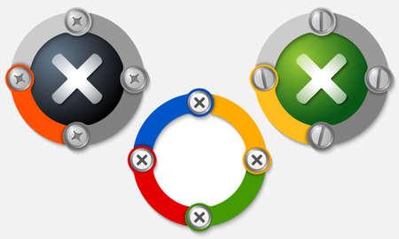 multiplication: Set of three colored frames and multiplication symbol Illustration