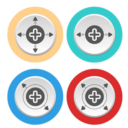 plus symbol: Four circular abstract colored icons with arrows and plus symbol