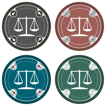jury box: Set of four colored flat simple frames and justice symbol Illustration
