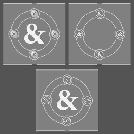 ampersand: Set of three flat frames and ampersand