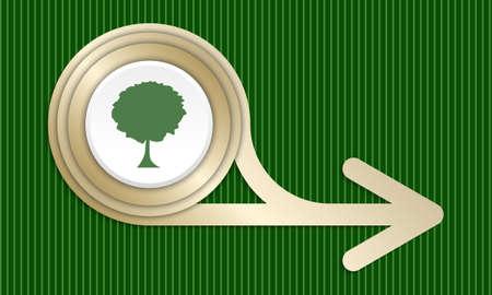 baum symbol: Goldene abstrakte Pfeil und Baum-Symbol