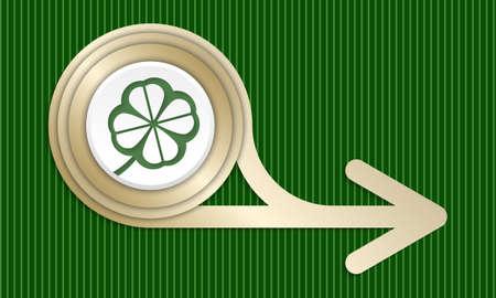 cloverleaf: Golden abstract arrow and green cloverleaf Illustration