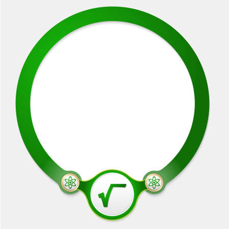 square root: Green circular frame for your text and radix