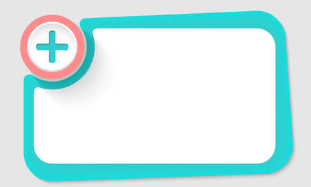 green plus: Pink circle and plus symbol and green frame for your text