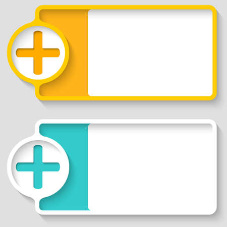 plus symbol: Colored boxes for your text and plus symbol