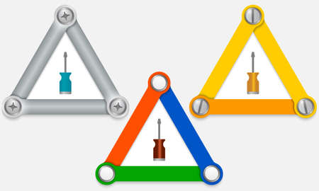 three colored: Set of three colored triangles and screwdriver