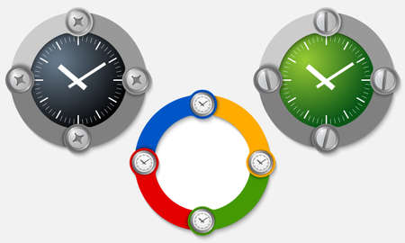 three colored: Set of three colored frames and watches